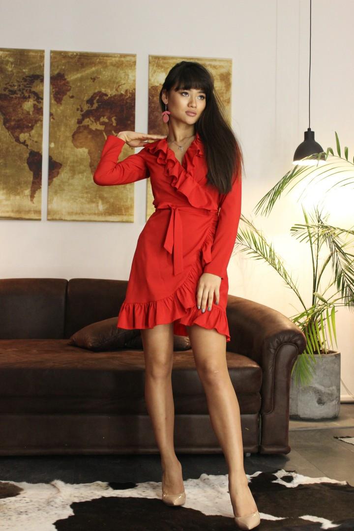 Платье «Моника» на запах с рюшами