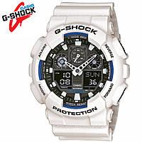 Часы водонепроницаемые Casio G-Shock GA-100 White Black. Реплика Premium качества!