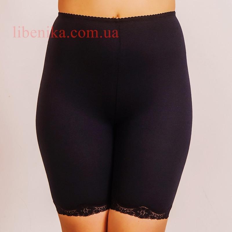 """Панталоны чёрного цвета """"Калина""""  из хлопка с ластовицей и кружевом. Размеры 48, 50, 52"""