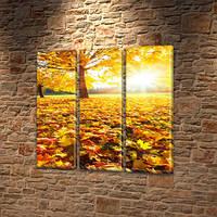 Модульная картина Золотые желтые листья, осень на Холсте, 95x95 см, (95x30-3), Триптих