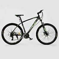 """Велосипед Спортивный CORSO ATLANTIS 27,5""""дюйма JYT 008 - 7357 BLACK-GREEN  рама алюминиевая 19``, 24 скорости, собран на 75% (ОПТОМ)"""