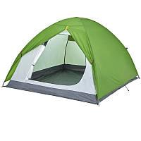 Палатка купольная 3-местная туристическая зеленая (водонепроницаемая)