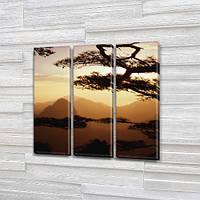 Модульная картина Силуэт гор на закате, горы на Холсте, 95x95 см, (95x30-3), Триптих