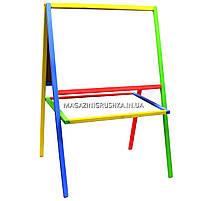 Мольберт детский двухсторонний магнитный разноцветный для маркеров, магнитов и мелков, фото 3