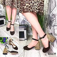 Женские открытые туфли из натуральной кожи на каблуке леопард + шоколад, фото 1