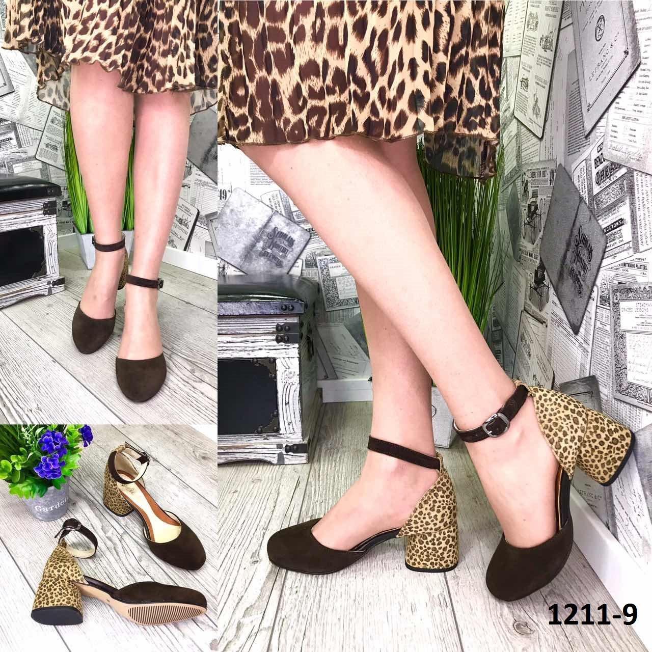 Женские открытые туфли из натуральной кожи на каблуке леопард + шоколад