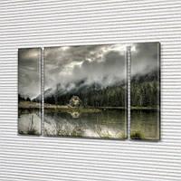 Модульная картина Туман над водой на Холсте, 95x135 см, (95x24-2/95х80), Триптих