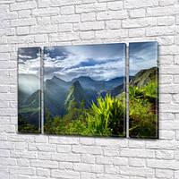 Модульная картина Горы, Зеленые пики гор и долины, на Холсте, 95x135 см, (95x24-2/95х80), Триптих
