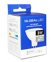 Светодиодная лампа GU5.3 3W 3000K MR16 Global 250lm 220V (1-GBL-111)