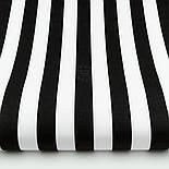 Отрез ткани с широкой чёрной полоской 25 мм на белом №1396, размер 58*160, фото 2