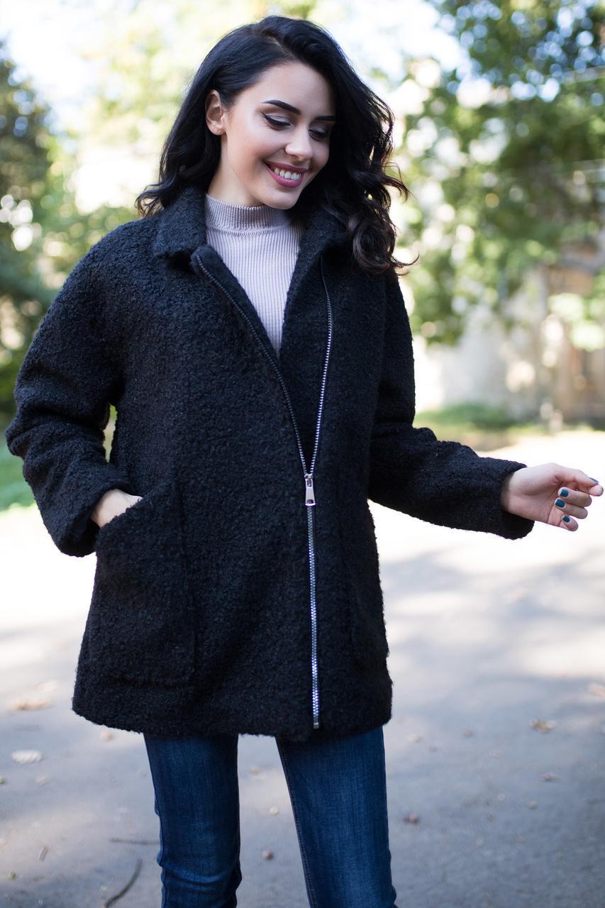 17438ab162c Чёрная куртка-жакет ERIN на молнии с большими карманами - Интернет-магазин