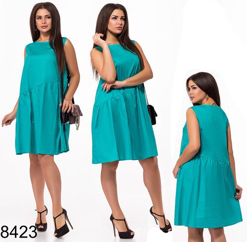 2df7068a69b0cc9 Летнее женское платье без рукавов (бирюза) 828423 - СТИЛЬНАЯ ДЕВУШКА интернет  магазин модной женской