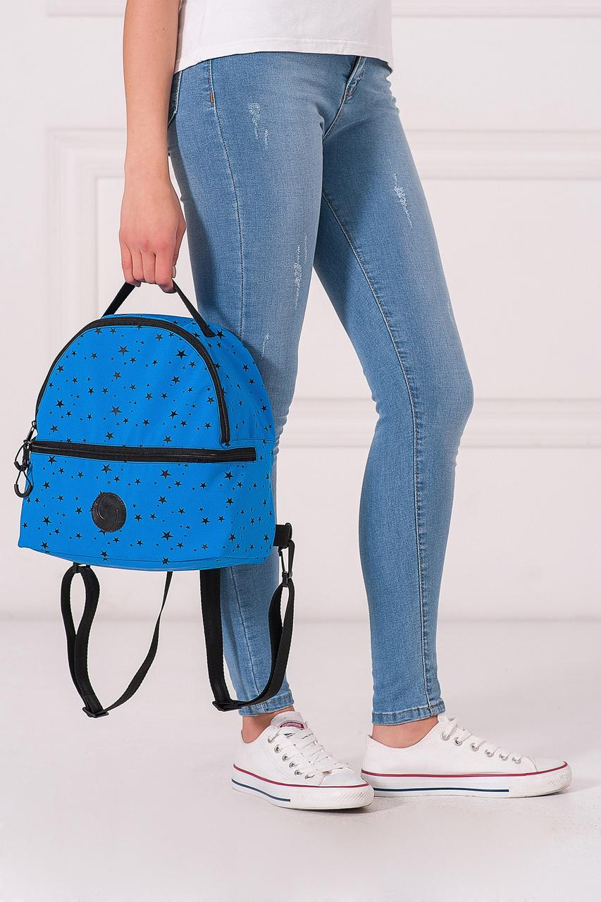 Синий полукруглый рюкзак MAX с абстрактным принтом