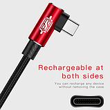 Кутовий Type-C кабель Baseus Elbow Type Cable 0.5 m - Black/Red, фото 5