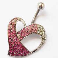 """Пирсинг серьги. Для пирсинга пупка """"Сердце"""". Медицинская сталь, розовые кристаллы., фото 1"""