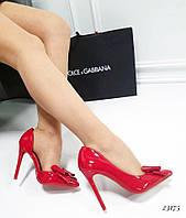 Туфли лодочки с бантом, красные лаковые туфли на каблуке шпильке