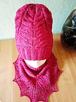 Комплект весна-осень, меринос на шелке, шапка с отворотом бини + ажурная косынка, красный