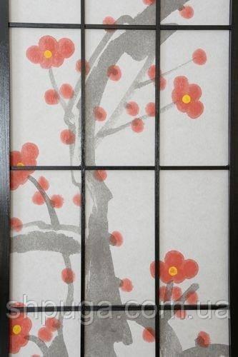 Декоративная ширма, арт 60, деревянный японский мотив темная рама крупная клетка