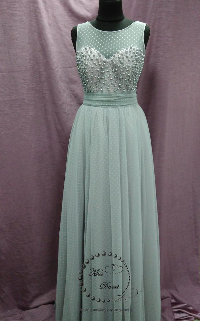 Выпускное платье серое с пудровым
