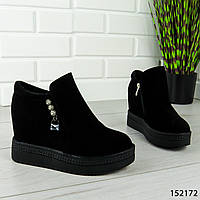 """Ботинки, сапоги, черные ДЕМИ """"Seri"""" эко замша, повседневная женская обувь"""
