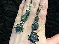 Серьги с лабрадором. Неповторимые серьги с камнем лабрадор в серебре., фото 1