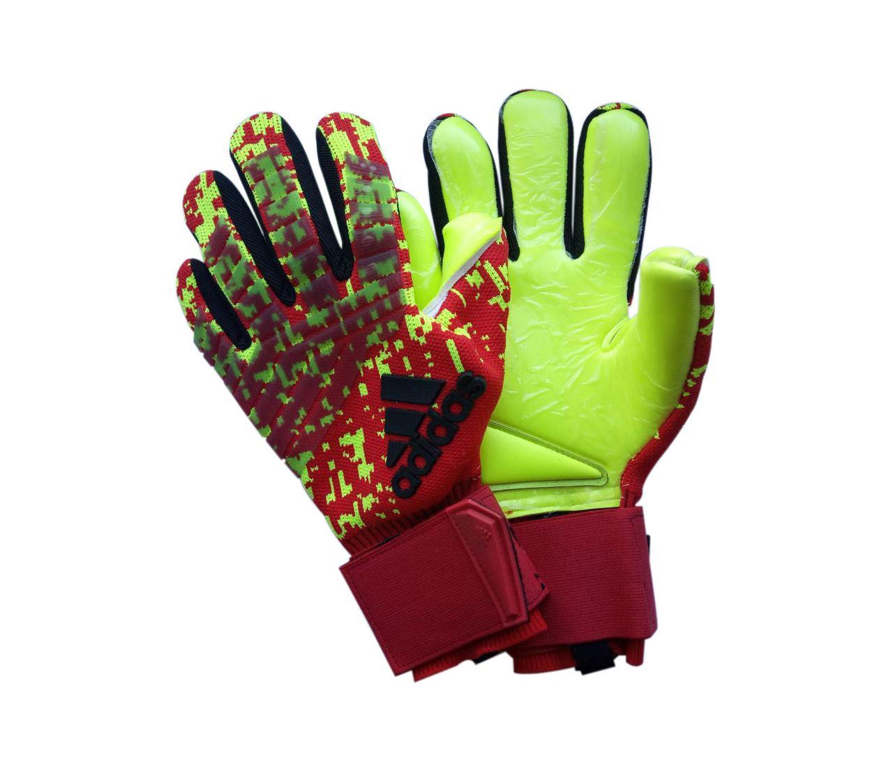 Вратарские перчатки Adidas pro 120 красно-салатовые