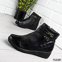 """Ботинки, сапоги, черные ДЕМИ на молнии """"Kludy"""" эко кожа, повседневная женская обувь"""