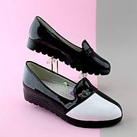 Туфли лоферы на девочку лаковые вставки черно - белые тм Тom.m р.36