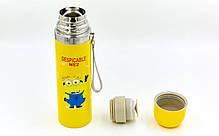 Сталевий Термос 500ml DESPICABLE ME2 2300 (жовтий, сталь), фото 3
