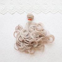 Волосы для кукол волнистые концы в трессах, пыльно розовый - 15 см