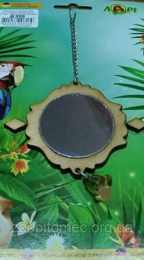 Зеркало для попугаев в клетку + колокольчик