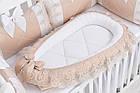 Кокон-гнёздышко и ортопедическая подушка для младенца Asik бежевого цвета с кружевом (2-320), фото 2