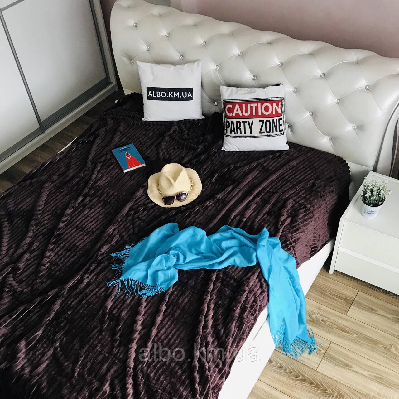 Покрывало микрофибра на диван ALBO 200х230 cm Шоколадное(P-F1-20)