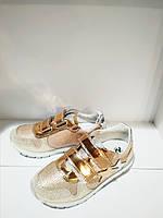 Детская обувь. Кроссовки для девочки на липучках, украшены звездами розовое золото кожа Naturino, Италия р.28
