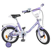Детский велосипед Profi Flower Y1483, 14 дюймов, с дополнительными колесами, фиолетовый