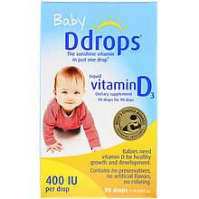"""Рідкий вітамін D3 для дітей Ddrops, Baby """"Liquid Vitamin D3"""" 400 МО (90 крапель)"""