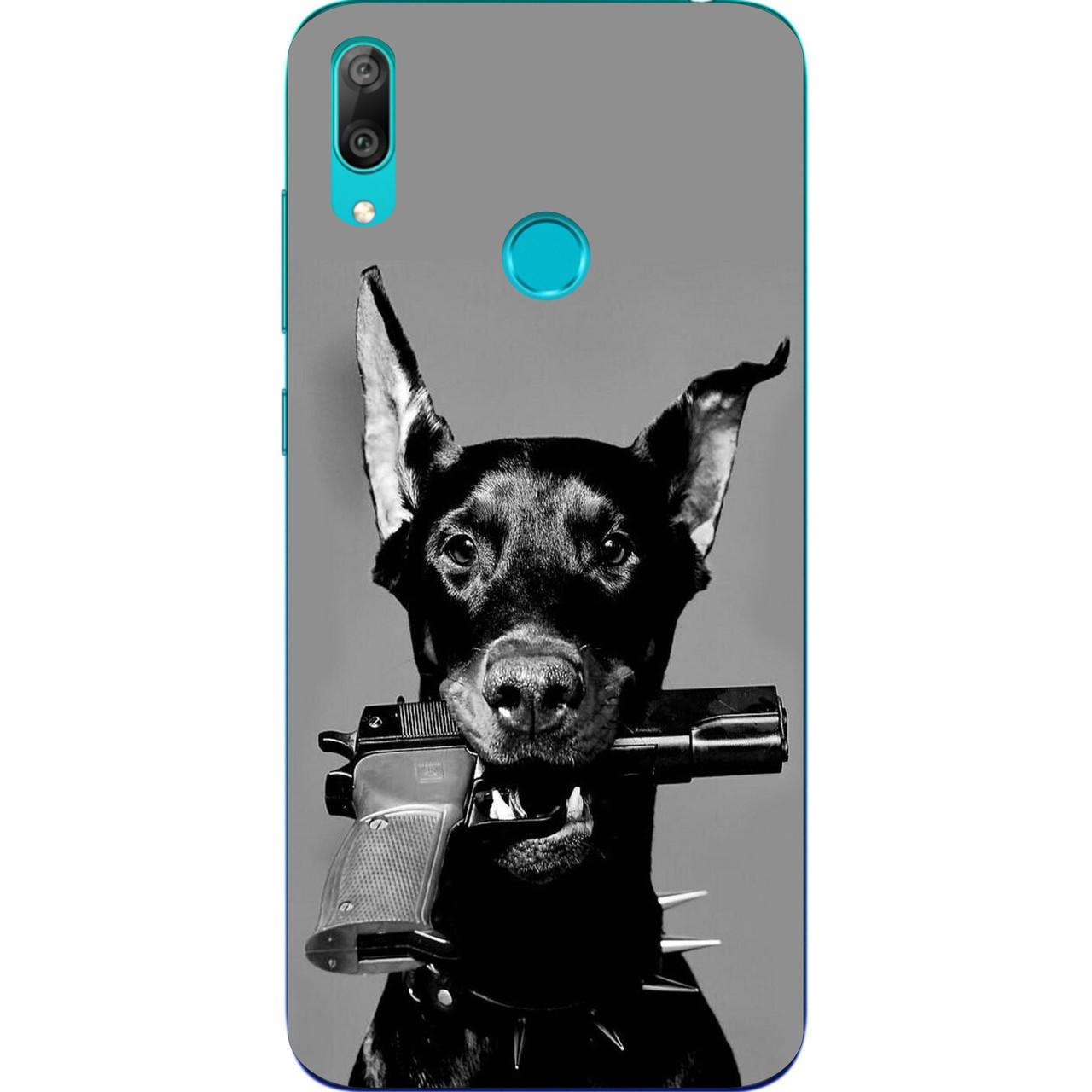 Силиконовый чехол с рисунком для Huawei Y7 2019 Собака с пистолетом