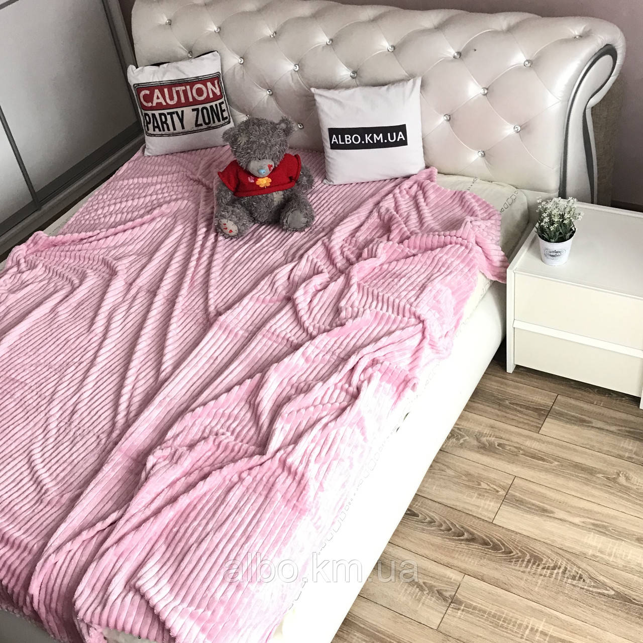 Плед на кровать Микрофибра ALBO 200х230 cm Розовое (P-F1-21)