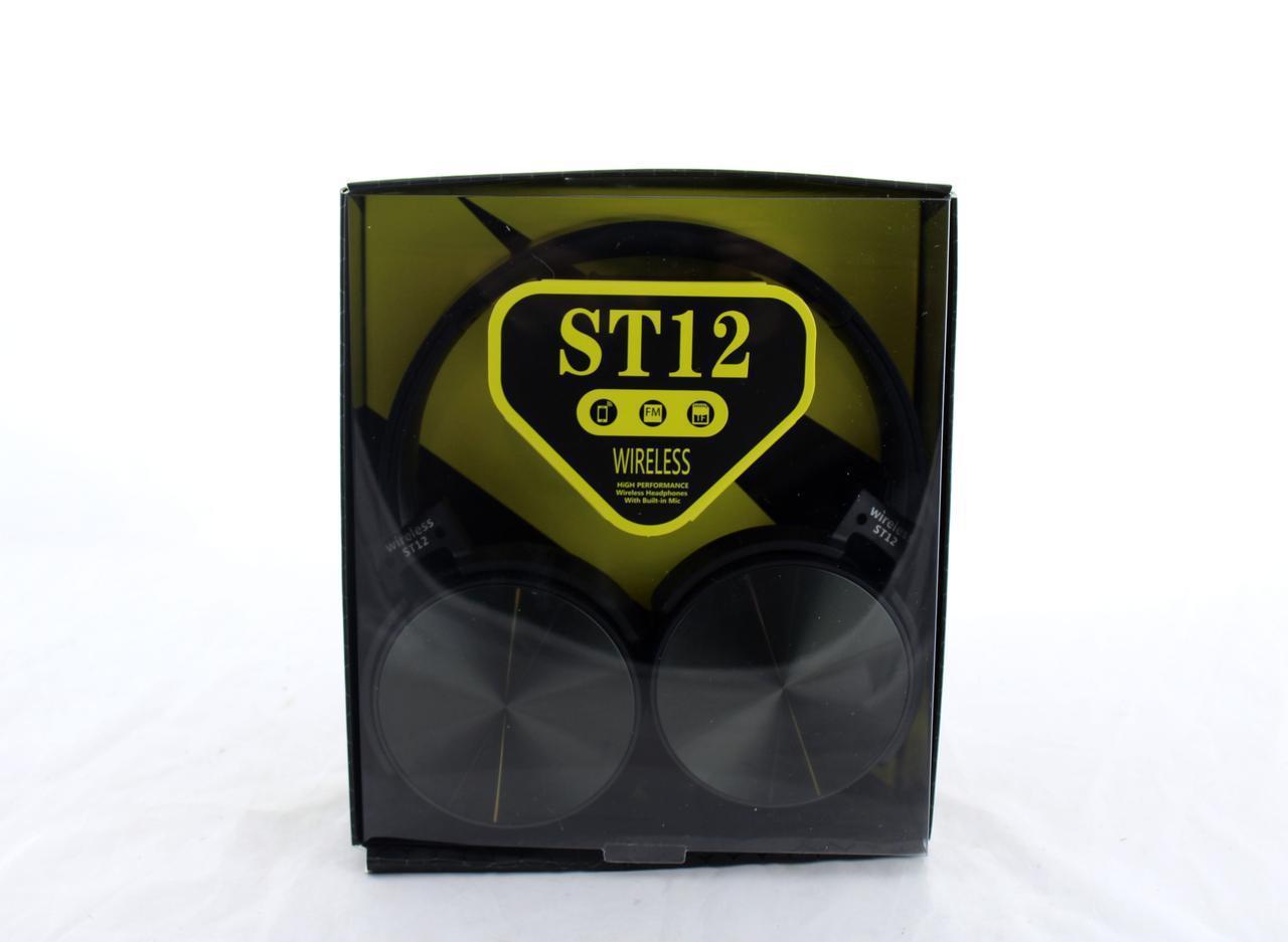 Наушники беспроводные Bluetooth с приемником FM встроенный аккумулятор MDR ST12 Bluetooth