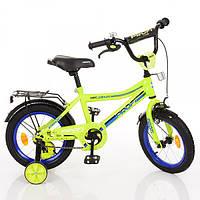 Детский велосипед Profi Top Grade Y16102, 16 дюймов, с дополнительными колесами, салатовый