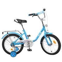 Детский велосипед Profi Flower L1684, 16 дюймов, с дополнительными колесами, голубой