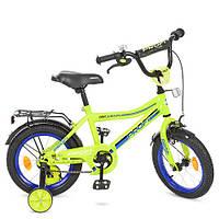 Детский велосипед Profi Top Grade Y14102, 14 дюймов, с дополнительными колесами, салатовый