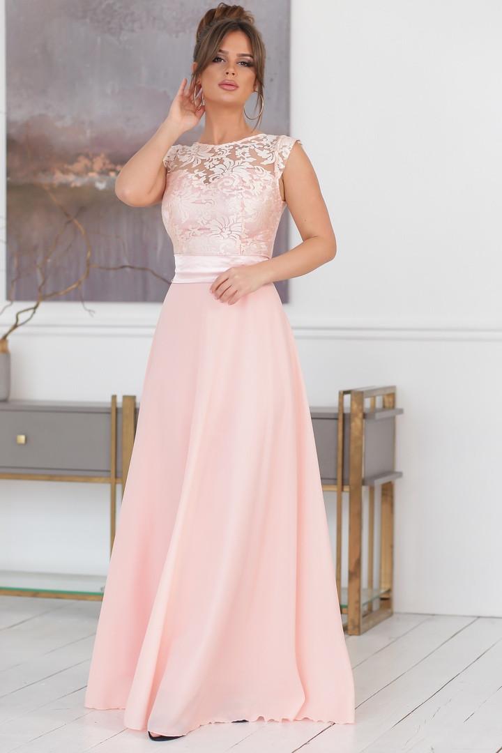 000ee22c46a Длинное вечернее платье верх кружево на сетке низ креп-шифон на атласном  подкладке размеры 42
