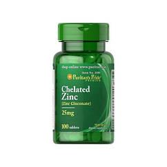 Цинк Puritan's Pride Chelated Zinc 25 mg 100 tabs