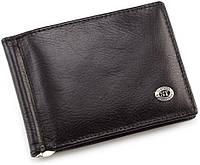 Черный кожаный зажим для купюр с блоком для карт ST Leather