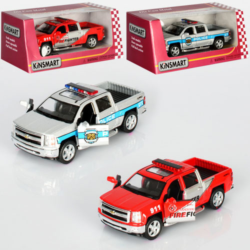 Машинка KT5381WPR (Chevrolet Silverado 2014)инер-я,1:46,откр.дв2вида(полиц,пожарн),в кор-ке,16-7-8см