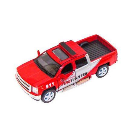 Машинка KT5381WPR (Chevrolet Silverado 2014)инер-я,1:46,откр.дв2вида(полиц,пожарн),в кор-ке,16-7-8см, фото 2