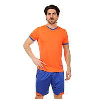 Футбольная форма (PL, р-р L-3XL, рост 160-185, оранжевый-синий), фото 1