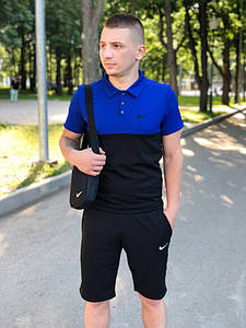 Костюм Футболка Поло черная-синяя + Шорты.  Барсетка в подарок! Nike (Найк)