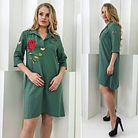 Женское платье хакки с аппликацией роза